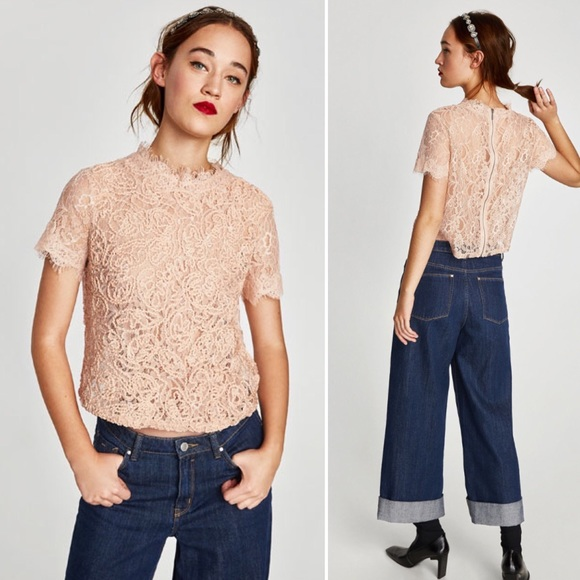 c5cb9effe2f865 Zara Embroidered Blush Lace Top